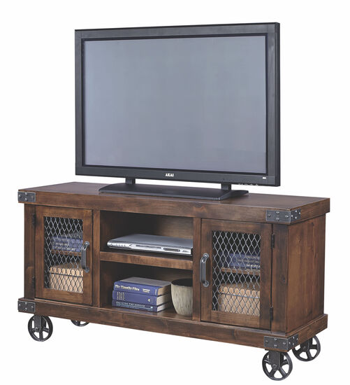 Wheeled Country Console in Brown