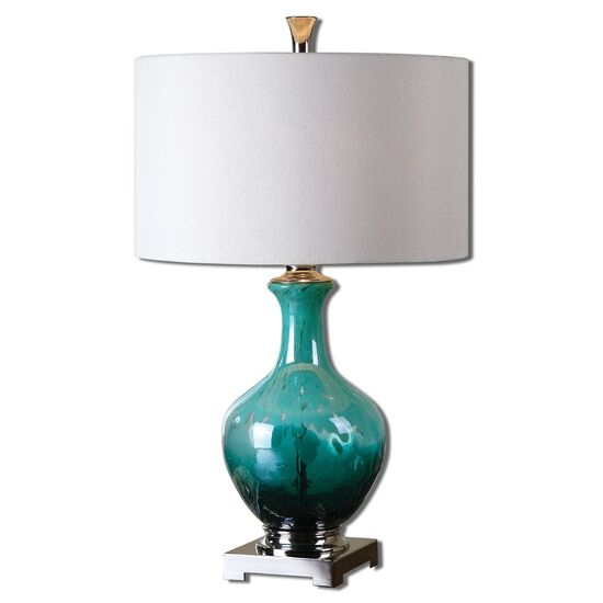 Pot Base Table Lamp in Green Blue