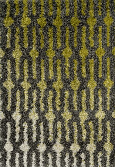 "Contemporary 3'-9""x5'-6"" Rug in Green/Grey"
