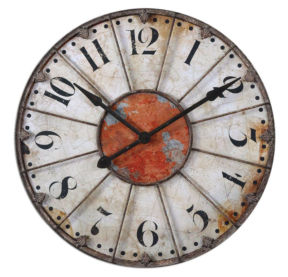 Fleur-de-lis Crackled Wall Clock in Ivory