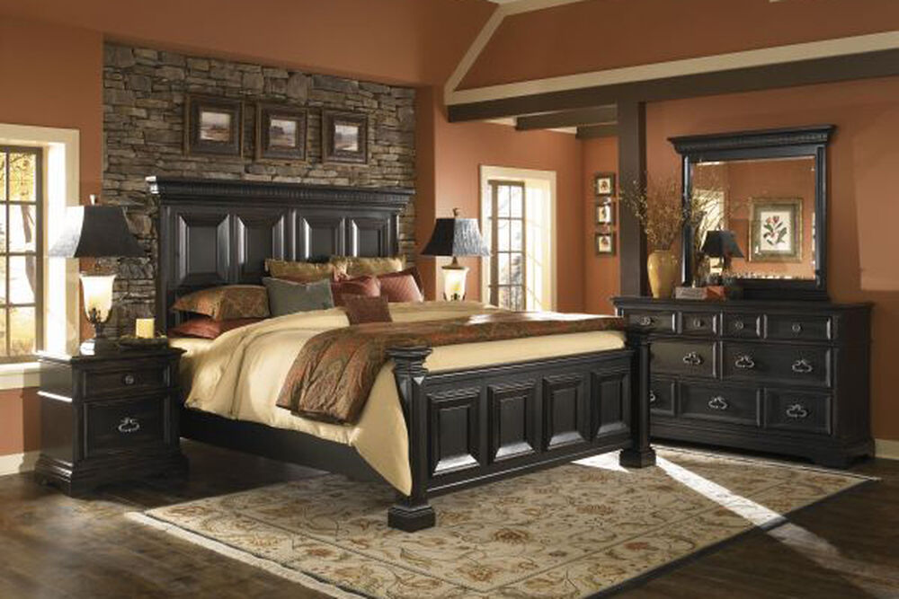Four Piece Traditional Bedroom Set in Black | Mathis Brothers