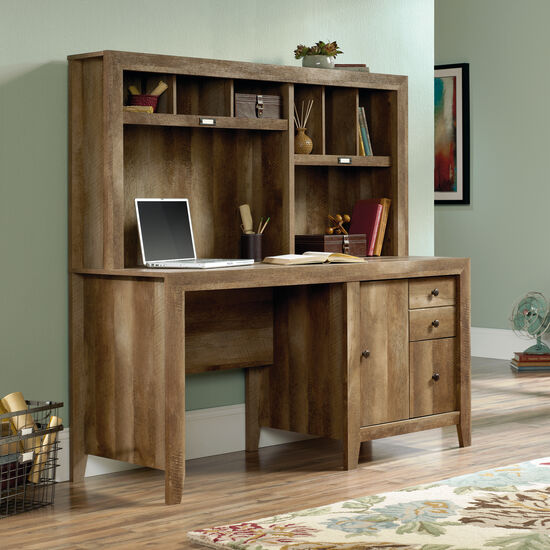 "59"" Contemporary Computer Desk with Hutch in Craftsman Oak"