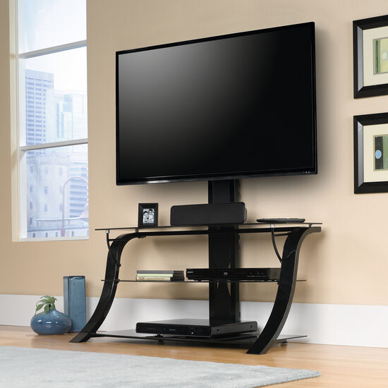 Steel Frame Transitional TV Stand with Mount in Black