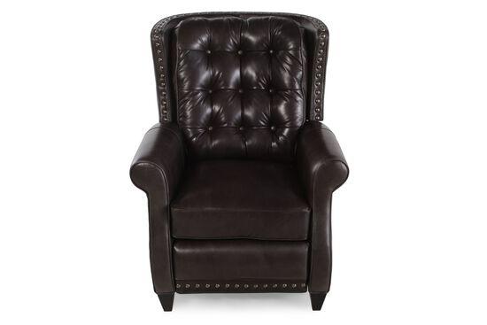 "Button-Tufted 33.5"" Leather Recliner in Dark Brown"
