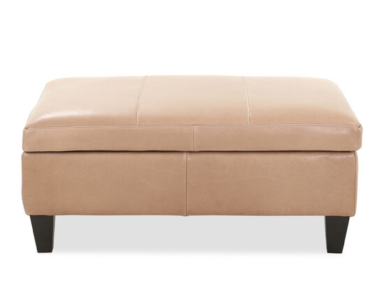 Small Leather 38'' Storage Ottoman in Sand