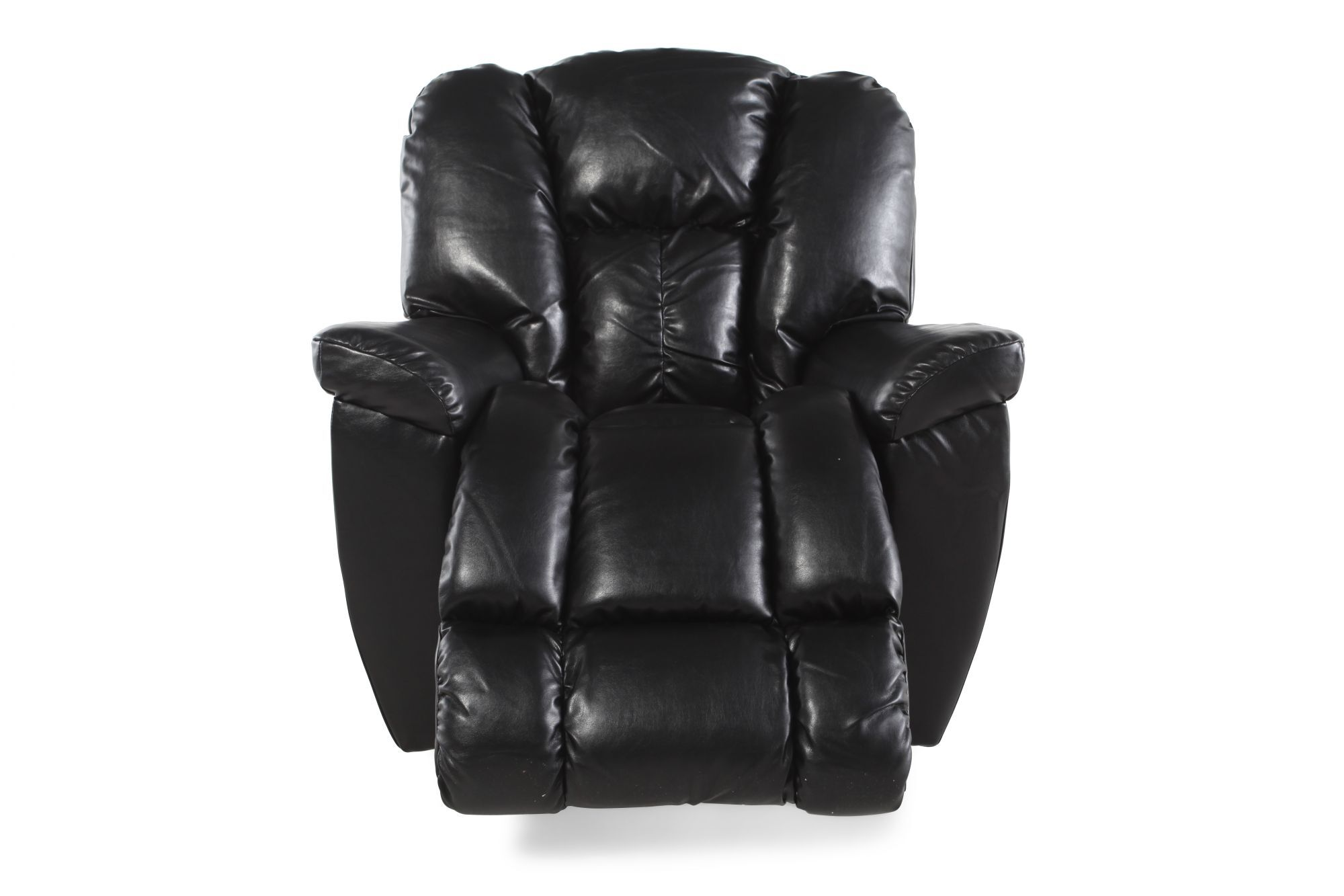 Pillow Top Arm Leather Recliner In Black Mathis Brothers Furniture