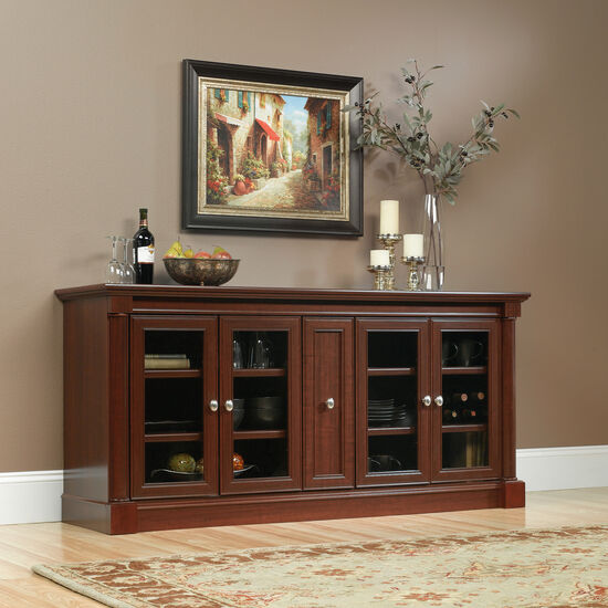 Four Adjustable Shelf Solid Wood Credenza in Select Cherry