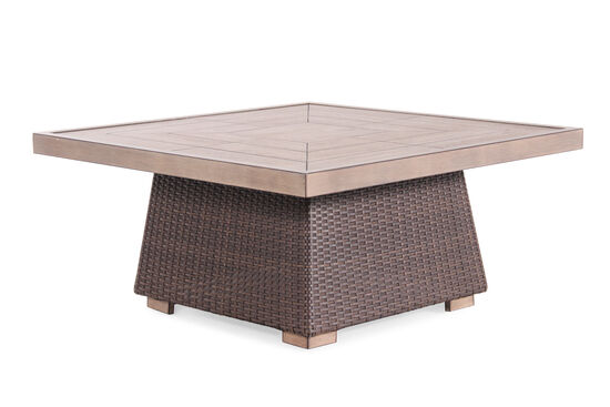 Woven Contemporary Cocktail Table in Dark Brown