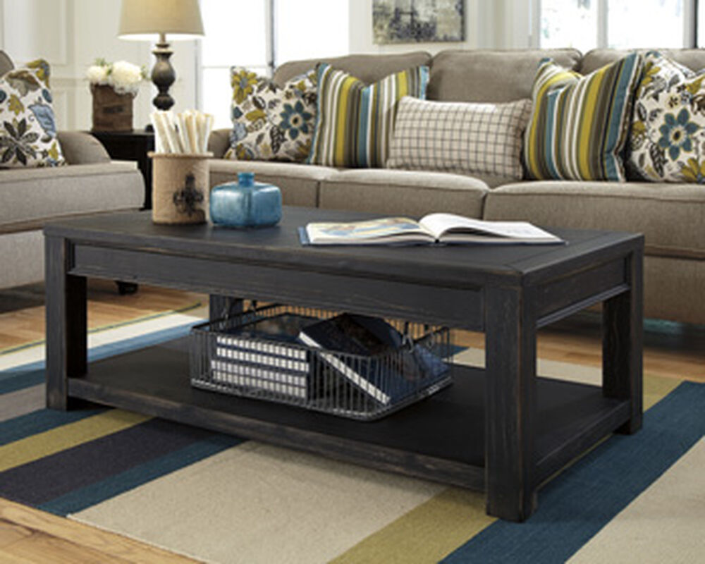 Vintage Style Rectangular Cocktail Table In Black Mathis Brothers