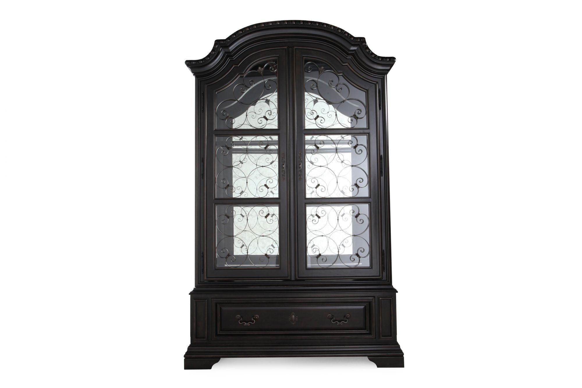 Traditional Valencia Display China Cabinet In Black Mathis Brothers Furniture