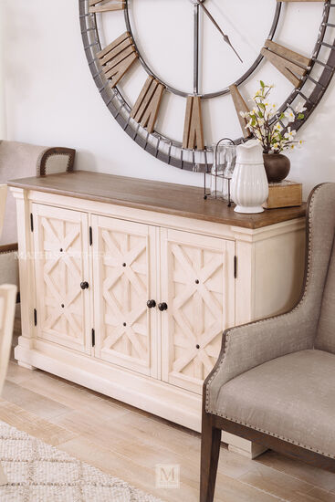 "Casual 58"" Dining Room Server in Antique White"