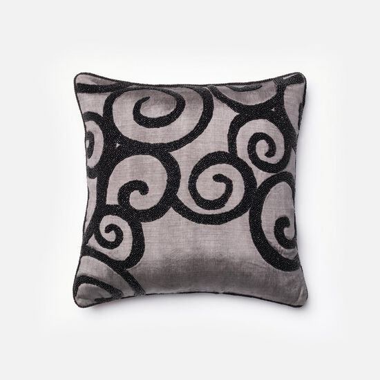 """Contemporary 18""""x18"""" Cover w/Down Pillow in Grey/Black"""