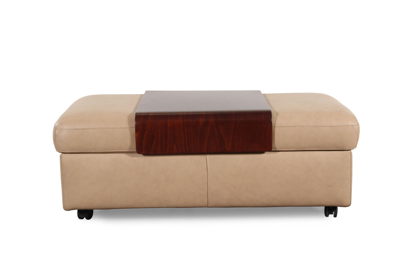 Images Contemporary 37 Leather Double Ottoman With Table Top In Cream
