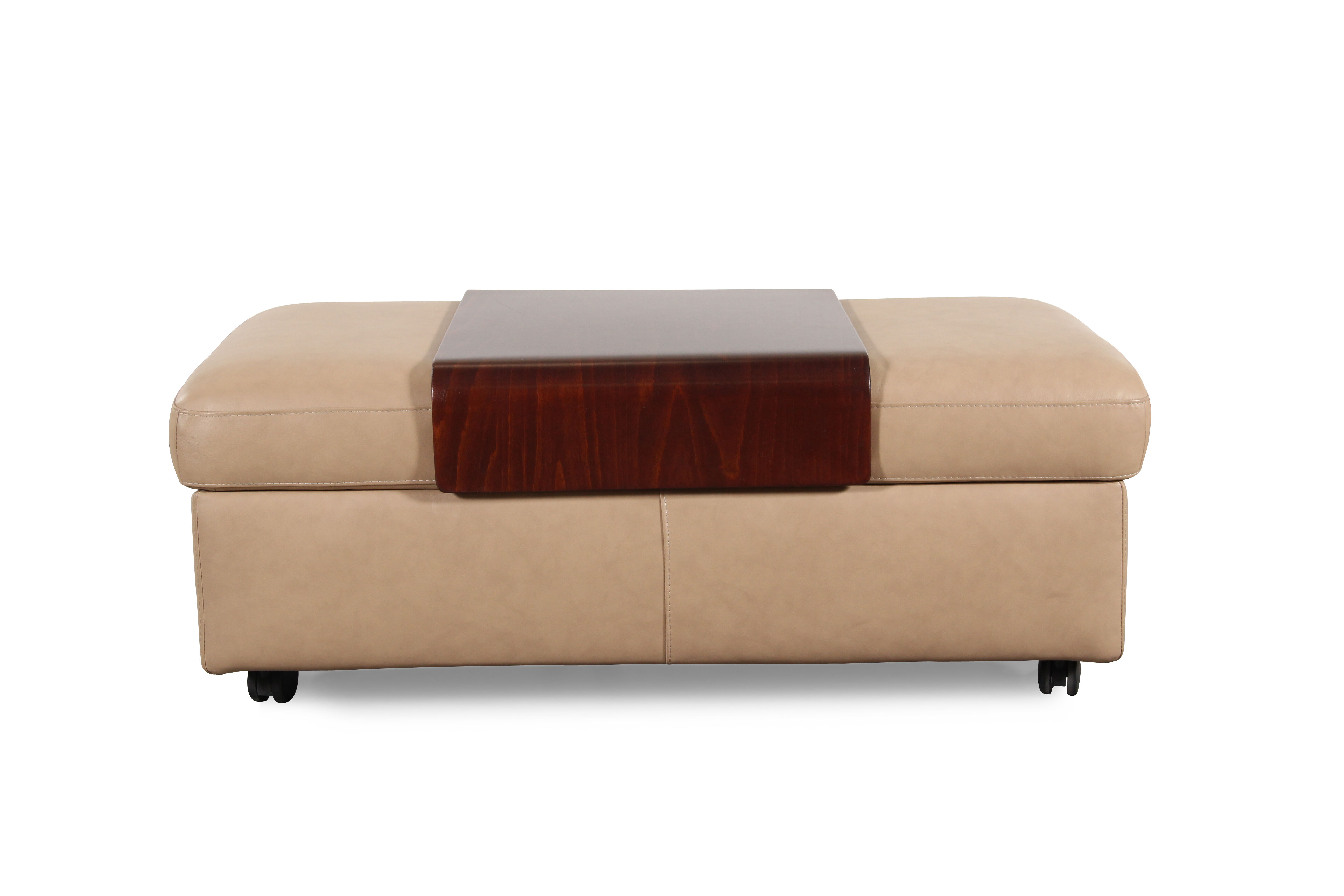 Images Contemporary 37u0026quot; Leather Double Ottoman With Table Top ...