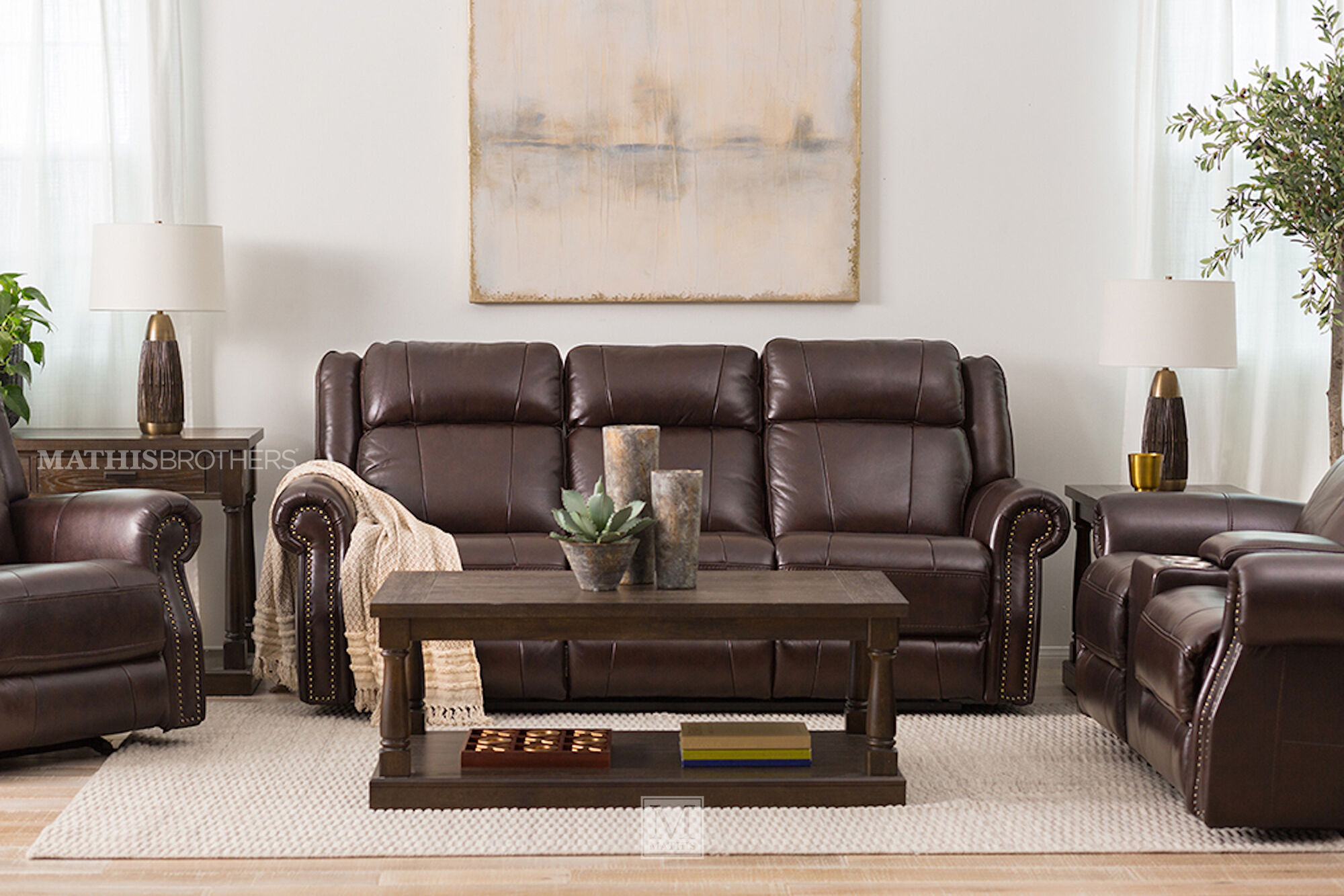 "incredible decorating brown leather living room furniture | Power Reclining Casual Leather 89""Loveseat with Console in ..."