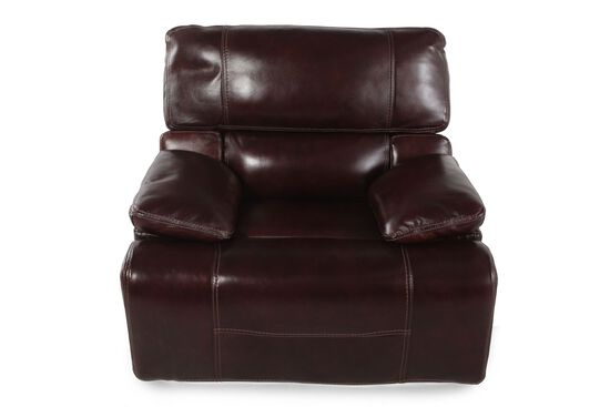 "Leather 43"" Power Recliner in Cabernet"