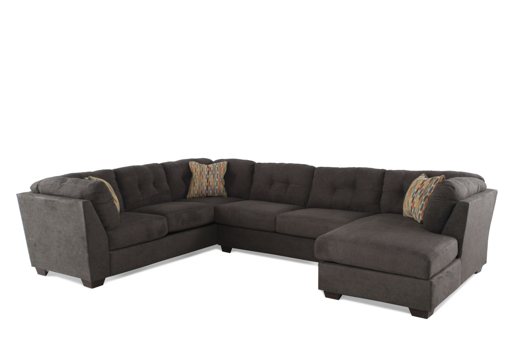 threepiece microfiber sectional in chocolate brown