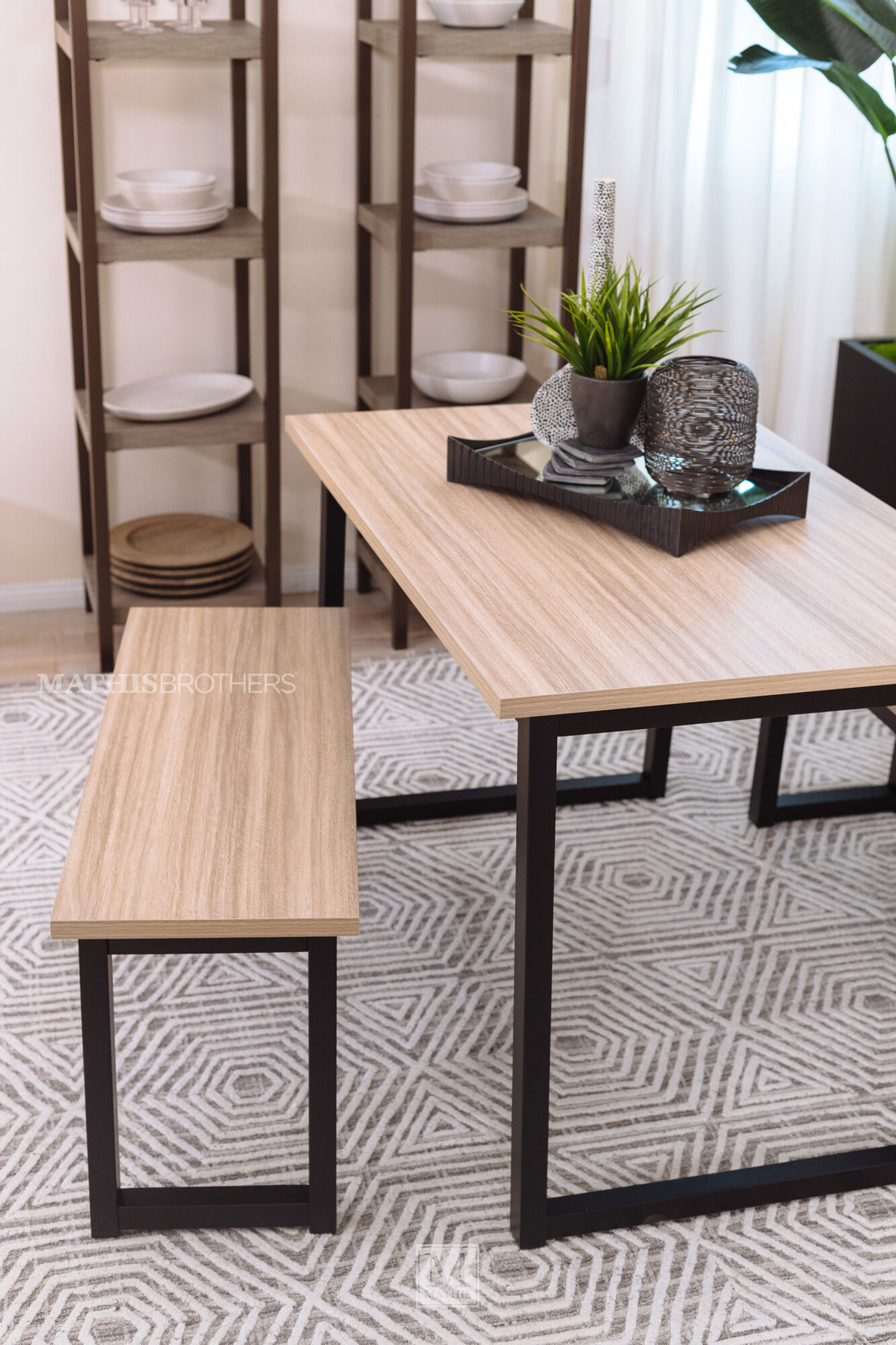 Three Piece Transitional Wood Top Dining Set In Black Mathis Brothers Furniture