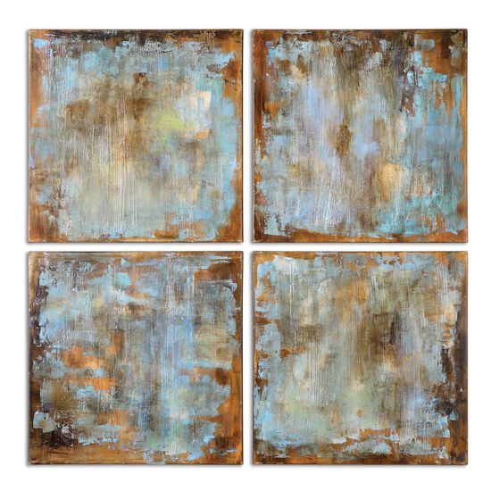 Four-Piece Abstract Hand Painted Tile Art Set