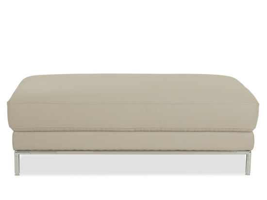 """Casual 50"""" Leather Ottoman in Beige"""