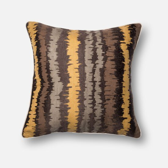 "Contemporary 22""x22"" Cover w/Poly Pillow in Brown/Multi"