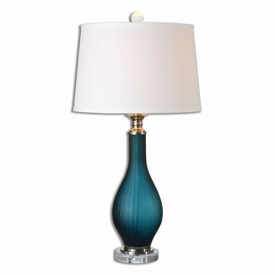 Pleated Vase Table Lampin Midnight Blue