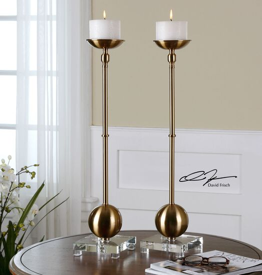 Two-Piece Brushed Candle Holder Set in Brass