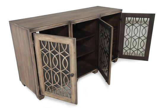 Filgree Insert Transitional Entertainment Console in Aged Nutmeg