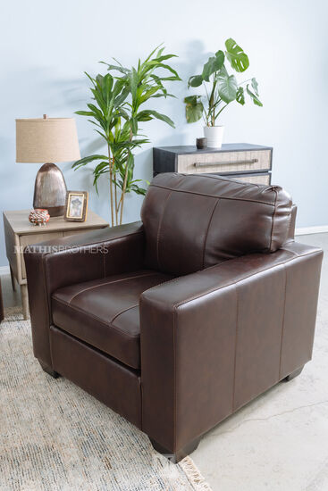 """Leather 38"""" Armchair in Brown"""