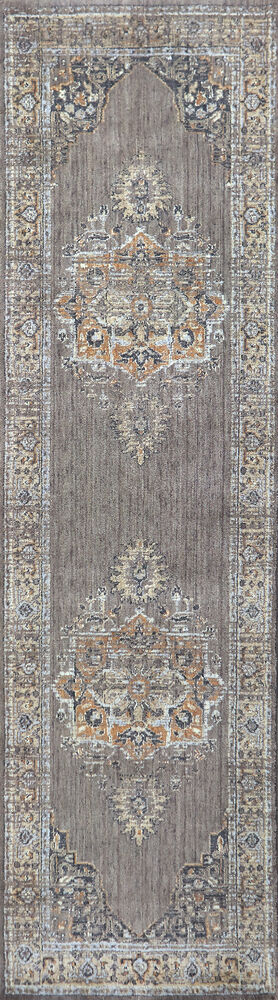 Traditional Power-Loomed 2.6 x 10 Runner Rug in Gray