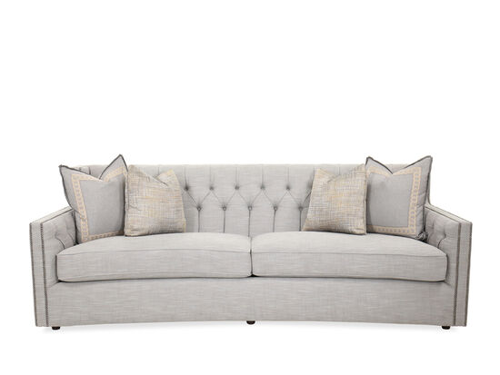 "Transitional Nailhead-Accented 96"" Sofa in Gray"