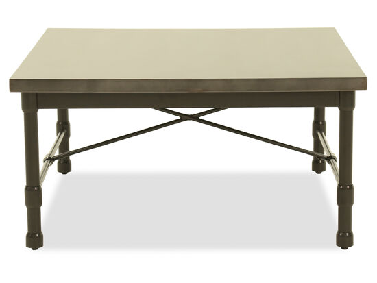 Square Modern Cocktail Table in Metallic Gray