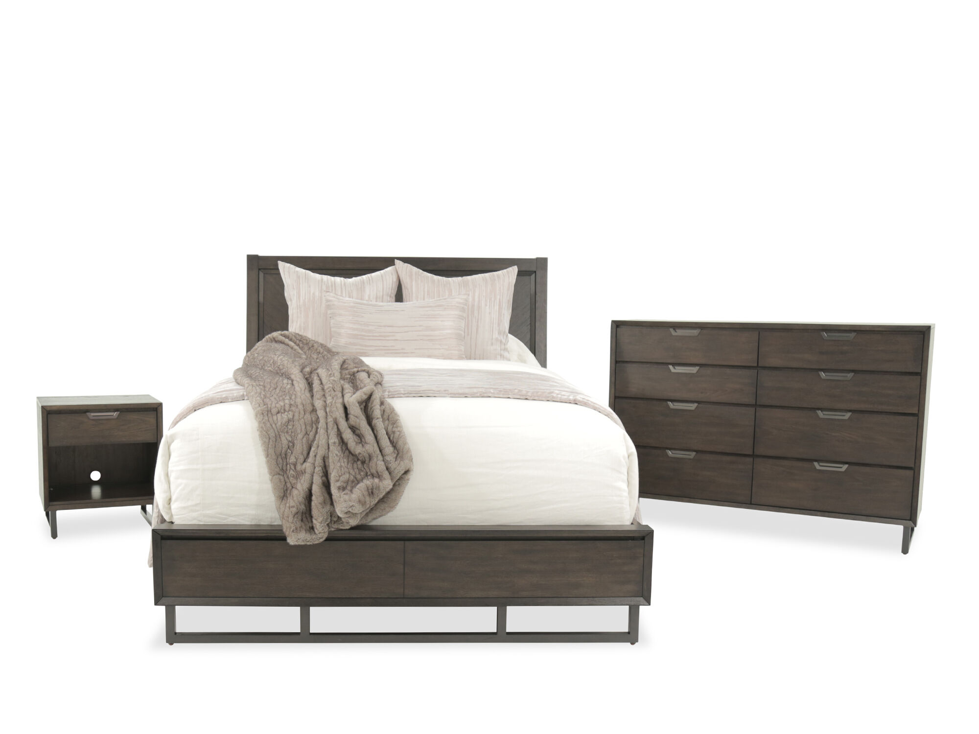 Three Piece Mid Century Modern Bedroom Set In Graphite Mathis