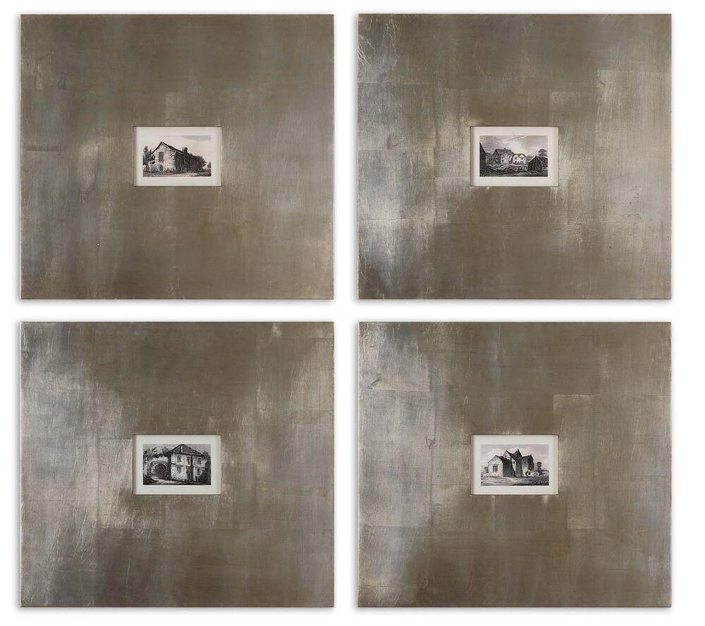 Four-Piece Framed Historical Buildings Wall Art Set