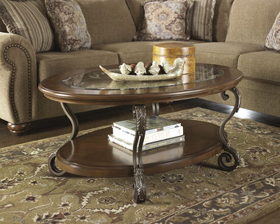 Traditional Oval Cocktail Table in Medium Brown