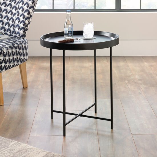 Casual Circular Side Table in Black
