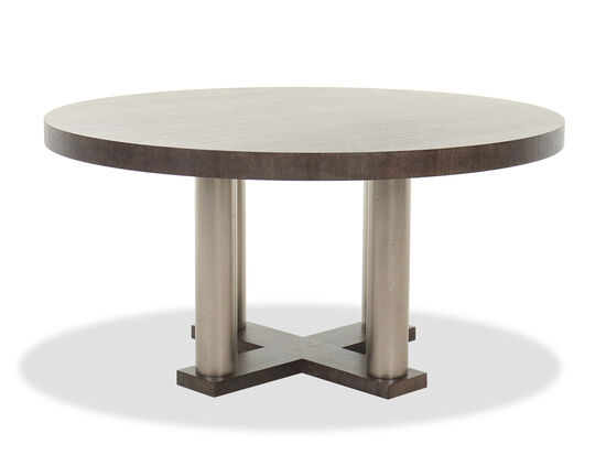 Casual Round Dining Table in Cerused Charcoal