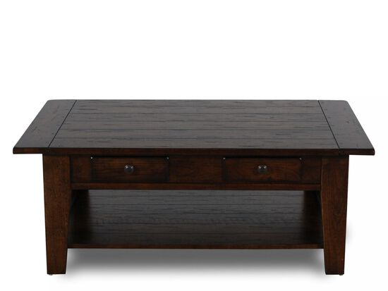 Two-Drawer Solid Wood Cocktail Tablein Rustic Oak