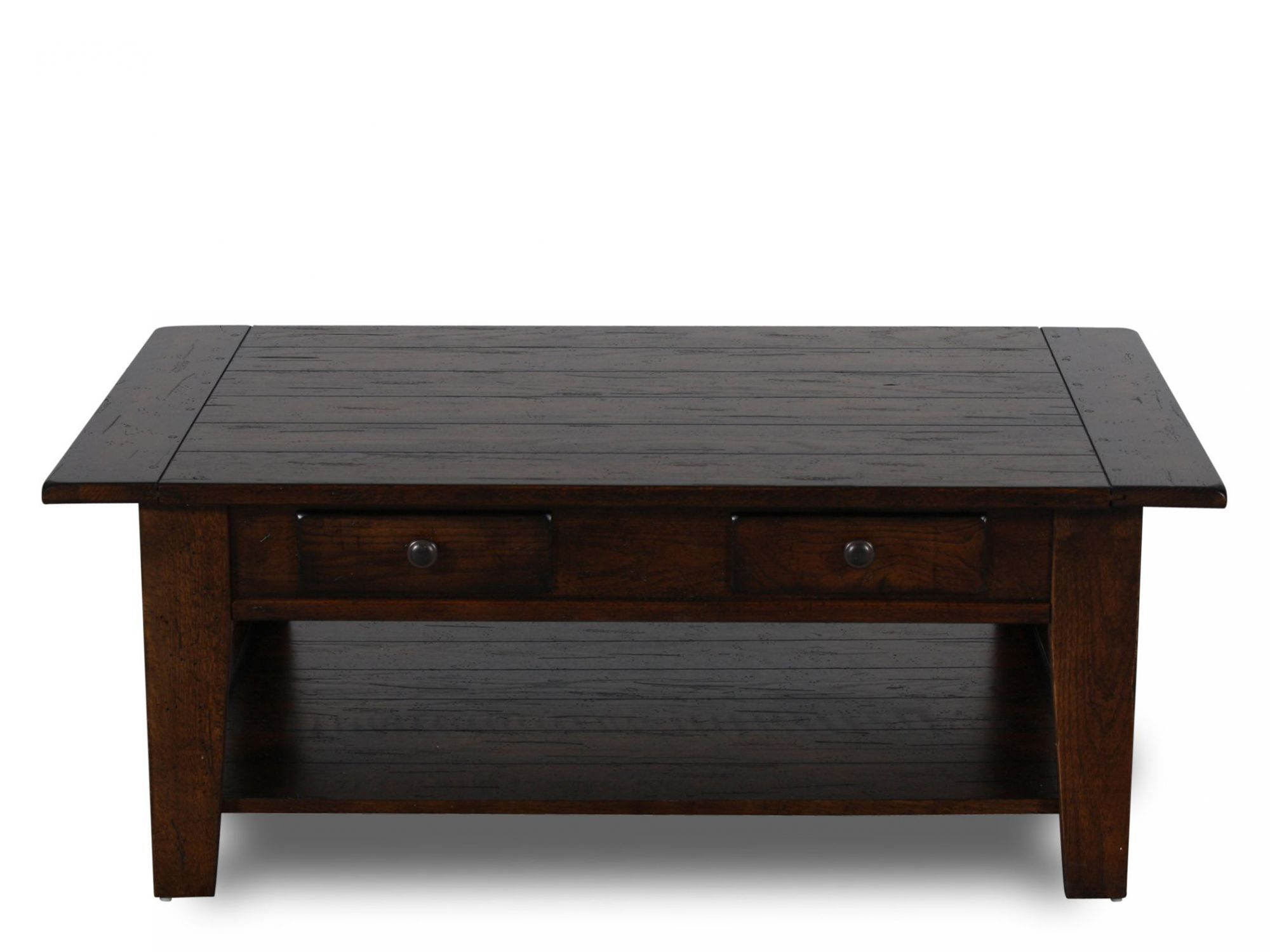 Superb Two Drawer Solid Wood Cocktail Tableu0026nbsp;in Rustic Oak
