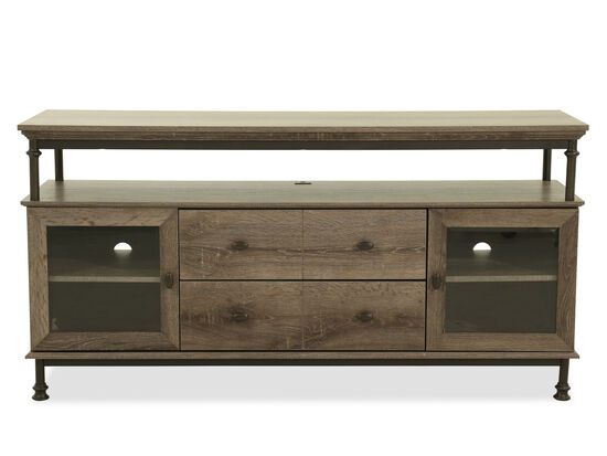 Industrial Entertainment Credenza in Northern Oak