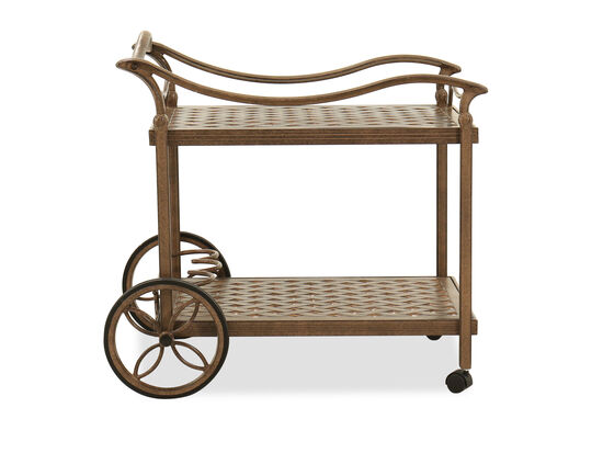 Traditional Aluminum Tea Cart in Brown