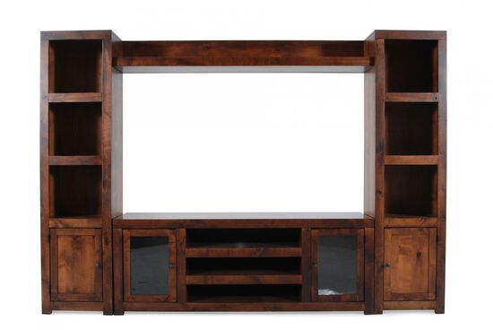 Four-Door Casual Wall Unit in Warm Fruitwood