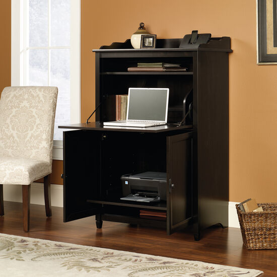 Two-Door Transitional Secretary Desk and Cabinet in Estate Black