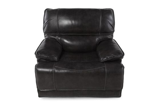 "Contemporary Leather 44"" Power Recliner in Black"
