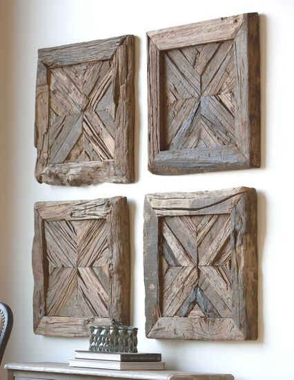 Solid Pine Planked Wall Art in Brown