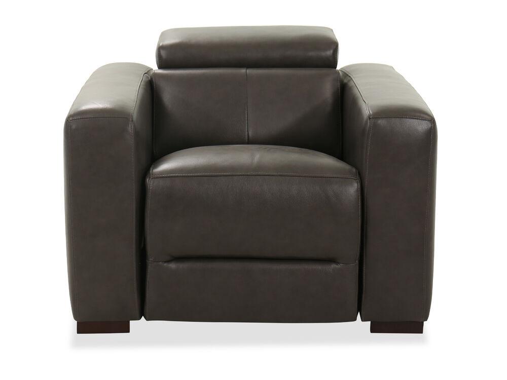 "38"" Leather Power Headrest Recliner Chair in Dark Gray"