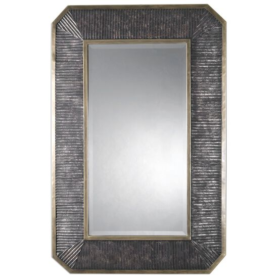 "48"" Ribbed Frame Rectangular Mirror in Burnished Bronze"
