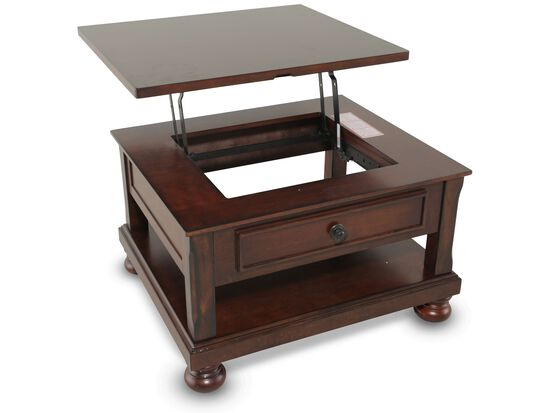 Lift-Top Traditional Cocktail Table in Brown Cherry