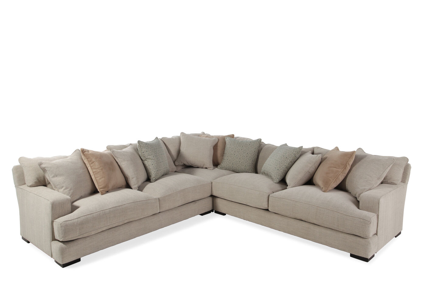 Three Piece Contemporary 126 Sectional In Tan Mathis Brothers Furniture