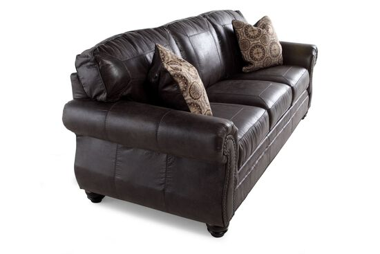 "Traditional Nailhead-Accented 89"" Sofa in Charcoal"